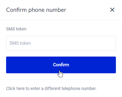 Confirm phone number Bitvavo