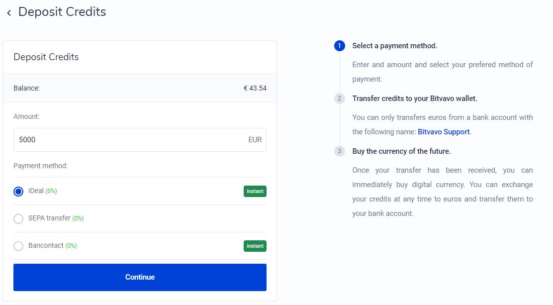 Deposit credits Bitvavo