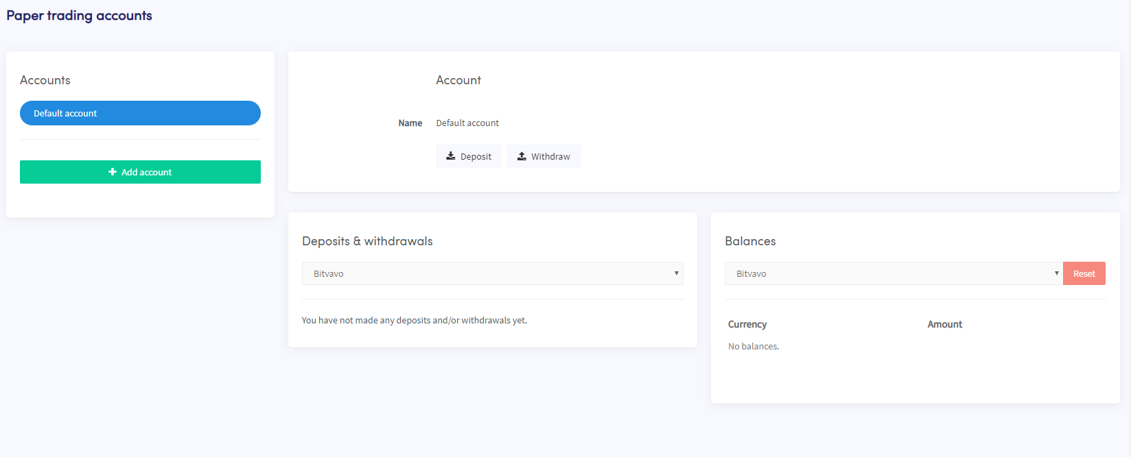Papertrading accounts dashboard