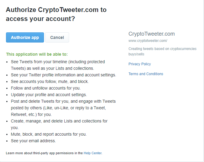 twitter oauth page