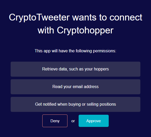 cryptotweeter oauth page