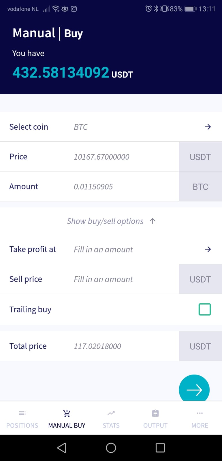 cryptohopper manual buy widget