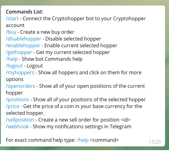 Telegram bot command list