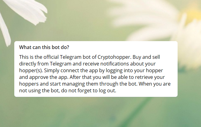 Telegram bot welcome message