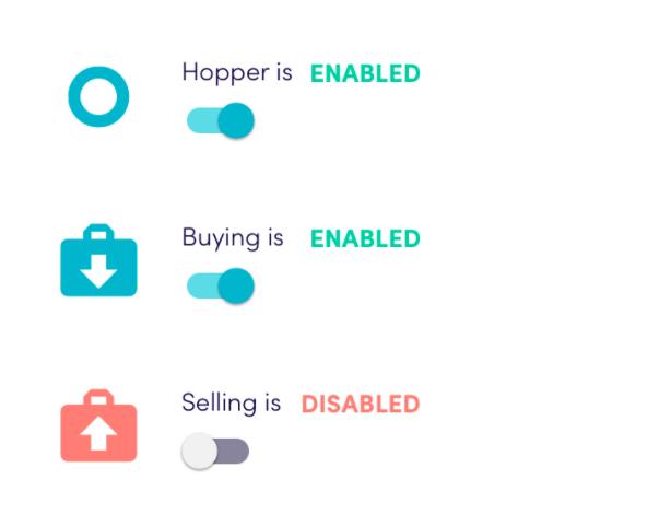 HopperTotal balances