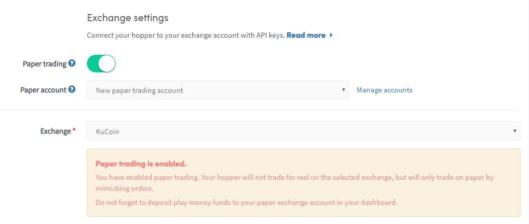 Exchange settings
