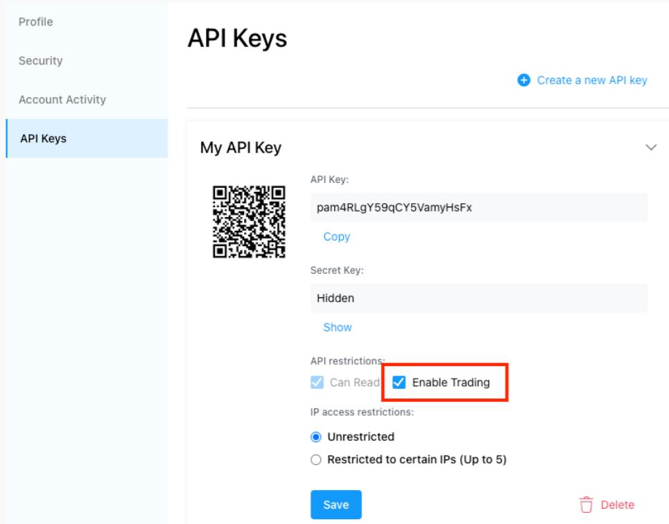 API key crypto.com
