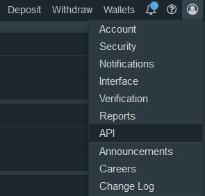 Bitfinex API screen Cryptohopper