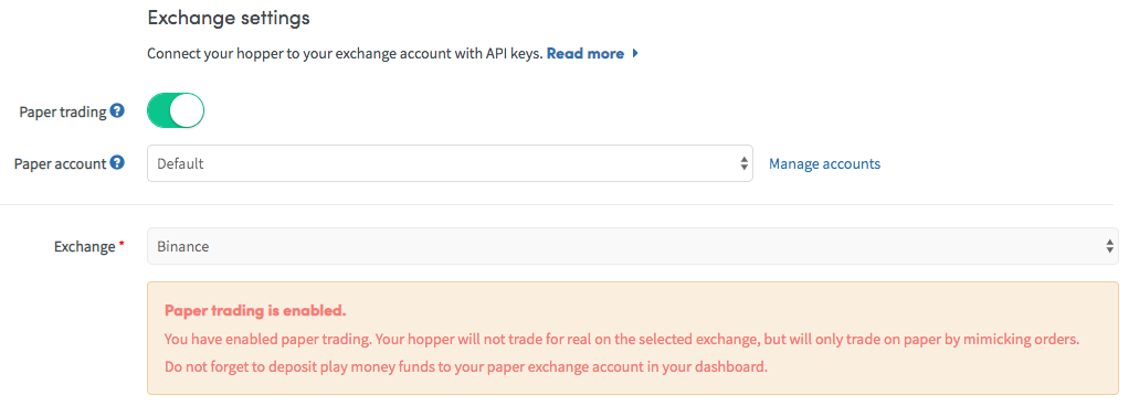 Paper trading account